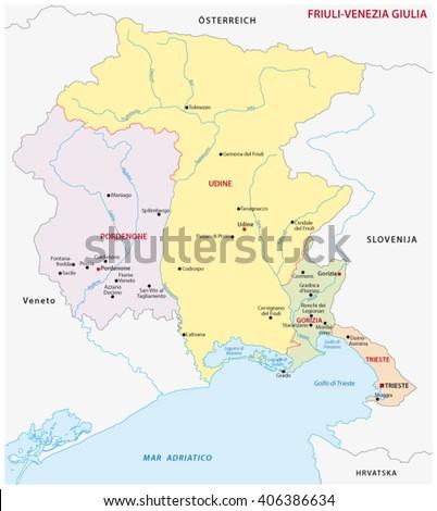 friuli venezia giulia administrative map, Italy - stock vector