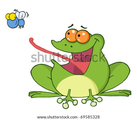Frog And Fly Cartoon Character - stock vector