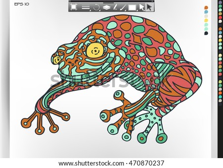Frog. Animal patterns with hand-drawn doodle waves and lines. Vector illustration in bright colors.