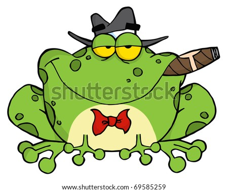 Frog Cartoon Mobster With A Hat And Cigar - stock vector