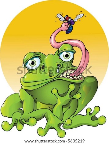 Frog Catching a Meal - stock vector