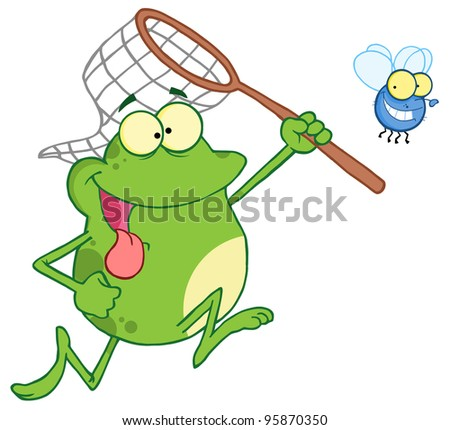Frog Chasing Fly With A Net.Vector Illustration - stock vector