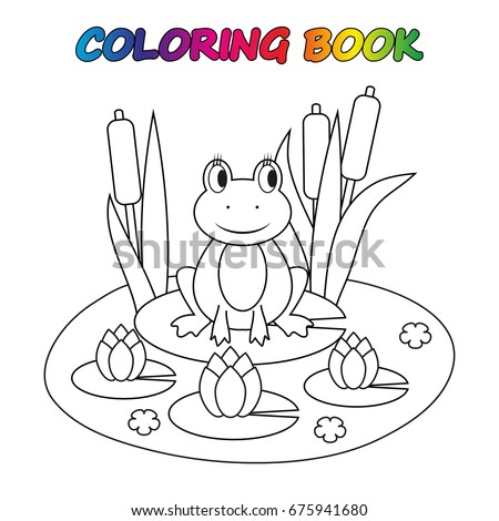 Frog Coloring Book Game Kids Vector Stock Vector 675941680 ...