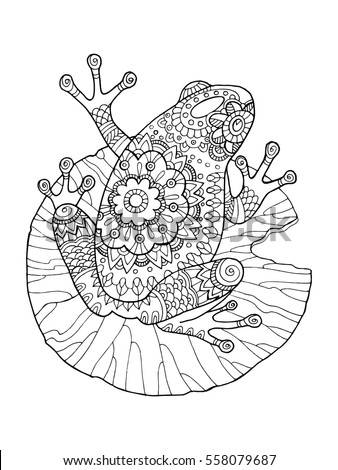 frog coloring book vector illustration anti stress coloring book for adult tattoo stencil
