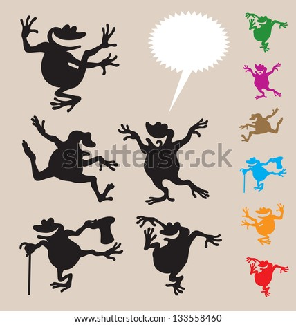 Frog Dancing Silhouettes 2. Smooth and detail vector silhouettes. Easy to change color. Use Adobe Illustrator 8 or higher to edit or change color. - stock vector