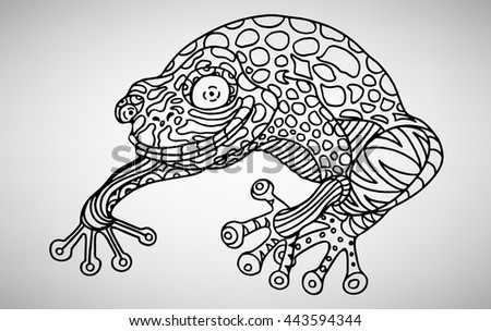 Frog. Hand-drawn with ethnic pattern. Coloring page - isolated on a white background. Zendoodle patterns. Vector illustration.