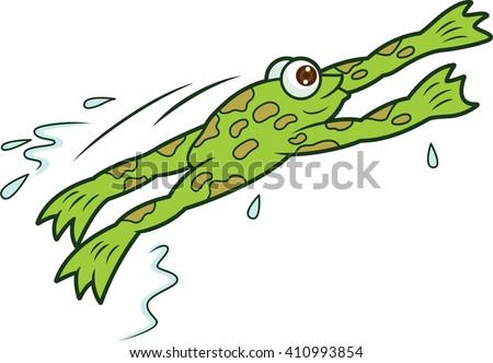 Frog Jumping Cartoon Illustration - stock vector