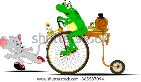 frog on a bike competing in the race with a small little mouse;  - stock vector