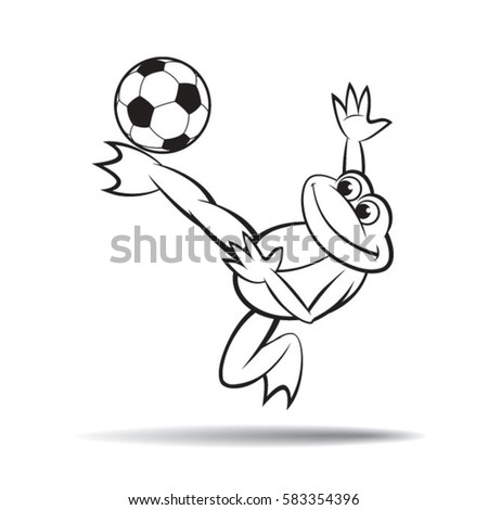 frog playing football black outlinevector drawing stock vector rh shutterstock com Dead Frogs Volleyball Mad Frog Volleyball