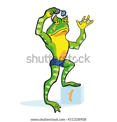 Frog swimmer stands on a winner cube. Number one athlete in a blue swimming trunks. Cartoon character toad. - stock vector