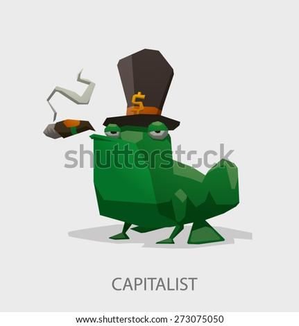 Frog the capitalist, vector - stock vector