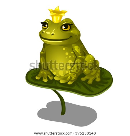Frog with a gold crown sitting on a Lily leaf. Vector illustration.