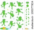 Frogs or toads cartoon characters construction kit - easy to pose as needed ( for high res JPEG or TIFF see image 100377830 )  - stock vector