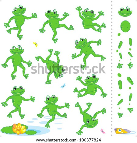 Frogs or toads cartoon characters construction kit - easy to pose as needed ( for high res JPEG or TIFF see image 100377830 )