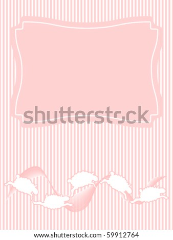 Frolicking Sheep Baby Announcement. This illustration is part of a set of three included in my Portfolio. - stock vector