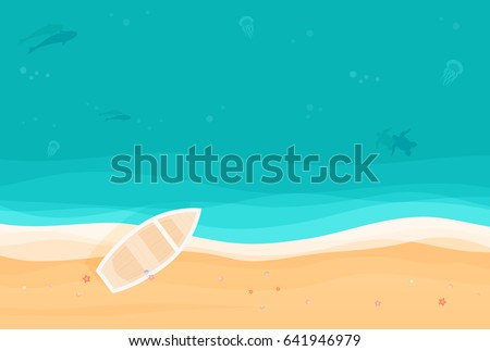From Above Summer Holiday Background With Boat On The Tropical Island Sandy Beach Top View