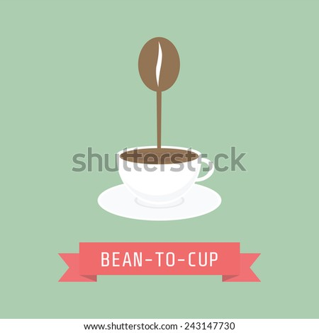 from bean to cup, drink for freshness - stock vector