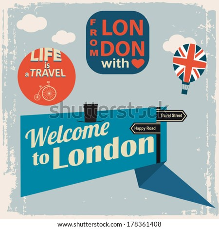 from London with love - stock vector