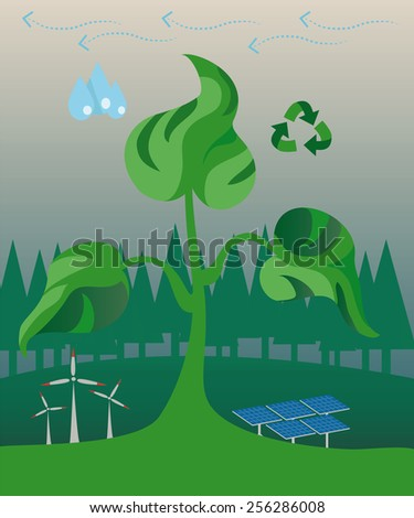from the ground in a forest grew more healthy germ that shows action on the investigation of alternative energy sources such as windmills, solar panels, energy and water use of ecological fuel - stock vector
