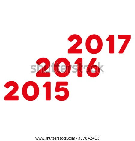 From 2016 To 2017 Years vector icon. Style is flat symbol, red color, rounded angles, white background.