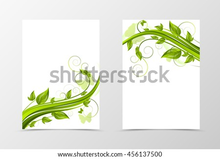 Front and back dynamic natural flyer template design. Abstract template with green flower and butterflies in floral style. Vector illustration - stock vector