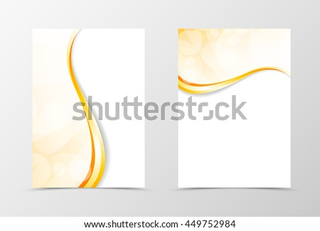 Front and back light smooth flyer template design. Abstract template with golden lines in wavy style. Vector illustration - stock vector