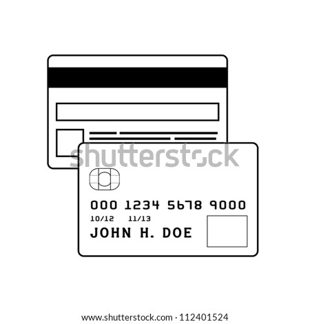 Front and back of a credit card. Modifiable colors. EPS/AI8 file. - stock vector