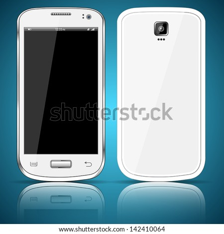 Front and back of a white smartphone - stock vector