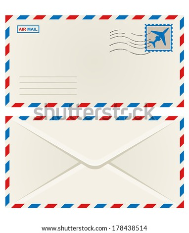 Front and back of an unaddressed airmail envelope with an aeroplane postage stamp and postage cancellation, vector illustration isolated on white - stock vector