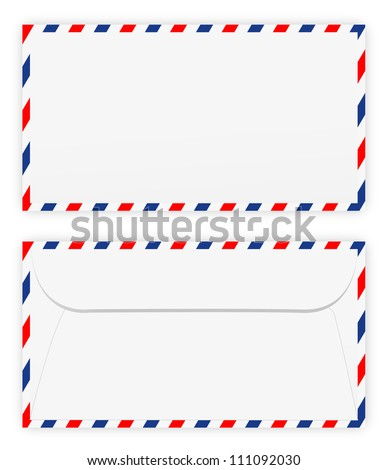 Front and back of envelope on white - stock vector