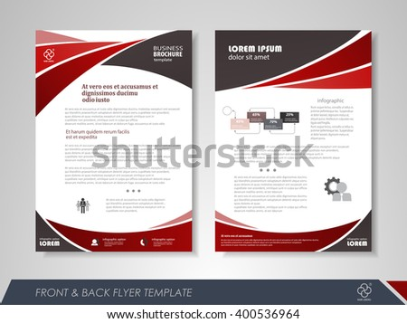 Front and back page brochure flyer design with business icons and infographic elements. - stock vector