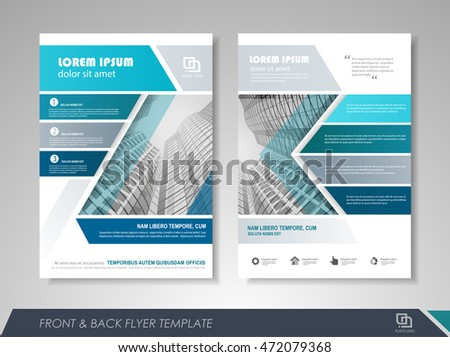 Front and back page brochure template. Flyer design, leaflet cover for business  presentations, magazine covers, posters, booklets, banners