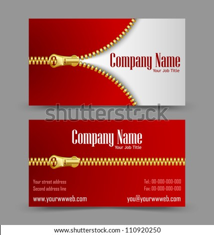 Front and back side of zipper theme business card isolated on grey background - stock vector