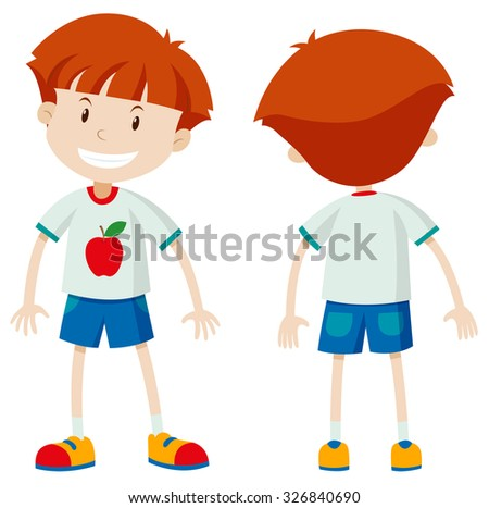 Front and back view of a boy illustration - stock vector