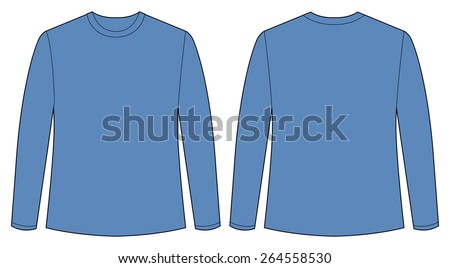 Front and back view of t shirt - stock vector