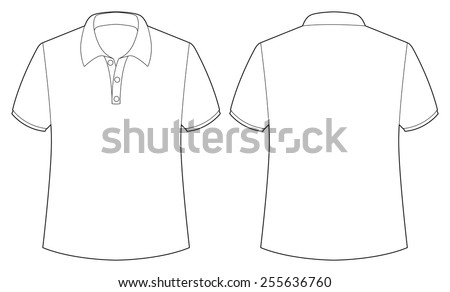 front and back view of white shirt - stock vector