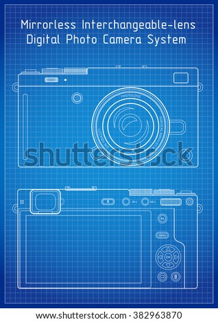 Technical blueprint template illustration on white vectores en stock front and back view to milc mirrorless system camera blueprint lines with grid outline vector malvernweather Images
