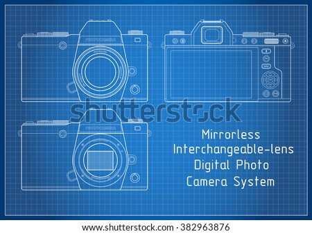 Front back view milc mirrorless system stock vector hd royalty free front and back view to milc mirrorless system camera with viewfinder blueprint lines with grid malvernweather Choice Image