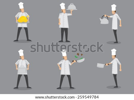 Front and profile side view of chef wearing white uniform and toque with different cooking equipment. Collection of vector cartoon characters isolated on grey background. - stock vector