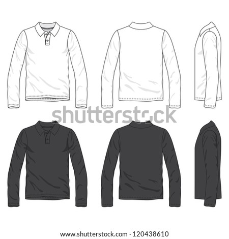 Front, back and side views of blank polo tee - stock vector