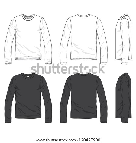 Front, back and side views of blank tee - stock vector