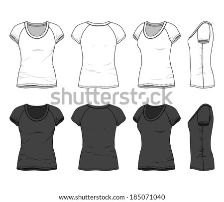Front, back and side views of blank women's t-shirt with raglan sleeve. Vector illustration. Isolated on white. - stock vector