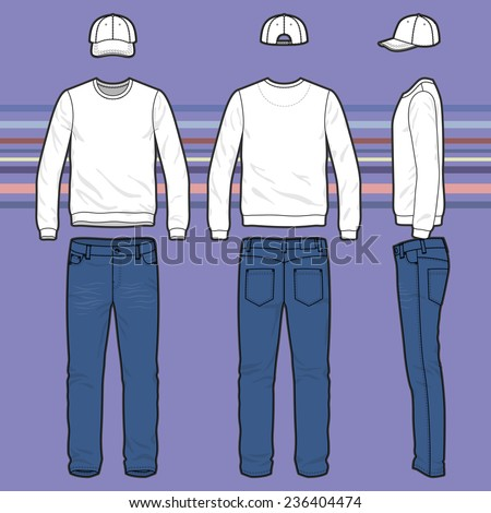 Front, back and side views of men's clothing set. Blank templates of sweatshirt, cap and jeans.  Casual style. Vector illustration on the striped background for your fashion design.  - stock vector