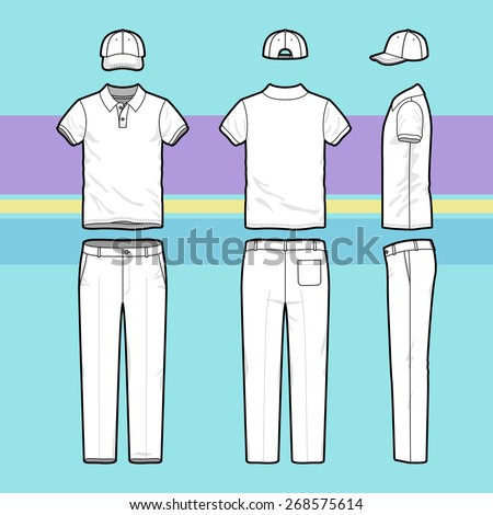 Front, back and side views of men's golf set. Blank templates of polo t-shirt, cap and pants. Sports uniform. Vector illustration on the striped background for your fashion design. - stock vector