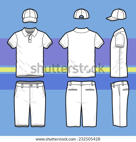 Front, back and side views of men's golf set. Blank templates of polo t-shirt, cap and shorts.  Sports uniform. Vector illustration on the striped background for your fashion design.  - stock vector
