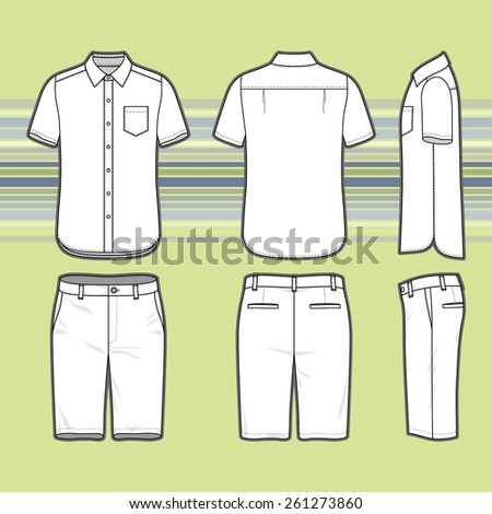 Front, back and side views of men's set. Blank templates of shirt and shorts. Casual style. Vector illustration on the striped background for your fashion design.  - stock vector