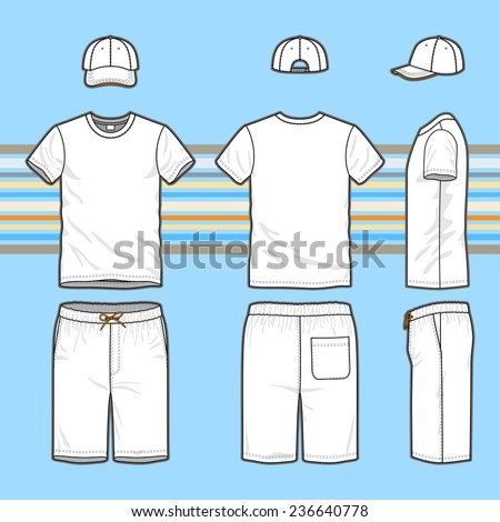 Front, back and side views of men's set. Blank templates of t-shirt, cap and swim shorts. Casual style. Vector illustration on the striped background for your fashion design.  - stock vector