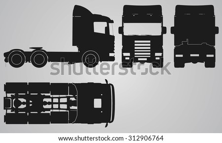 Front, back, top and side truck without trailer projection. Flat illustration for designing icons  - stock vector