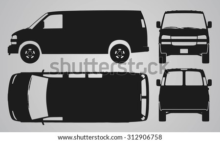 Front, back, top and side van car projection. Flat illustration for designing icons  - stock vector