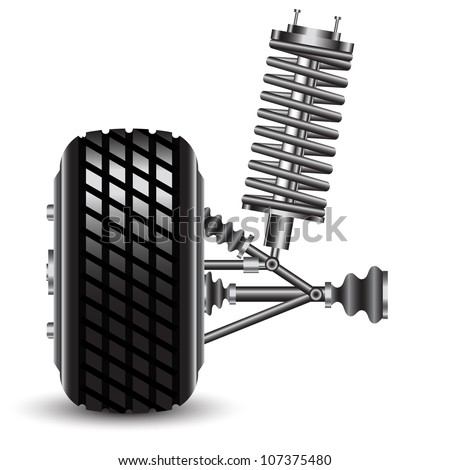 Front car suspension, frontal view. Vector Illustration - stock vector